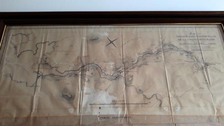 Mapa do trazado do ferrocarril entre Cornes e Carril, a primeira que se construíu en Galicia, e na que participou Fontán.